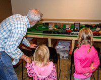 Corvallis Library Train Display with Frank, Amalia & Marisol