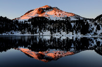 Mt. Lassen reflection in Lake Helen at sunset